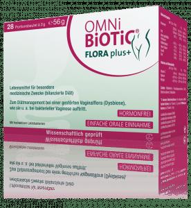 OMNi-BiOTiC® FLORA plus+reguliert das Gleichgewicht der Scheidenflora mir vier wissenschaftlich kombinierten Bakterienstämmen