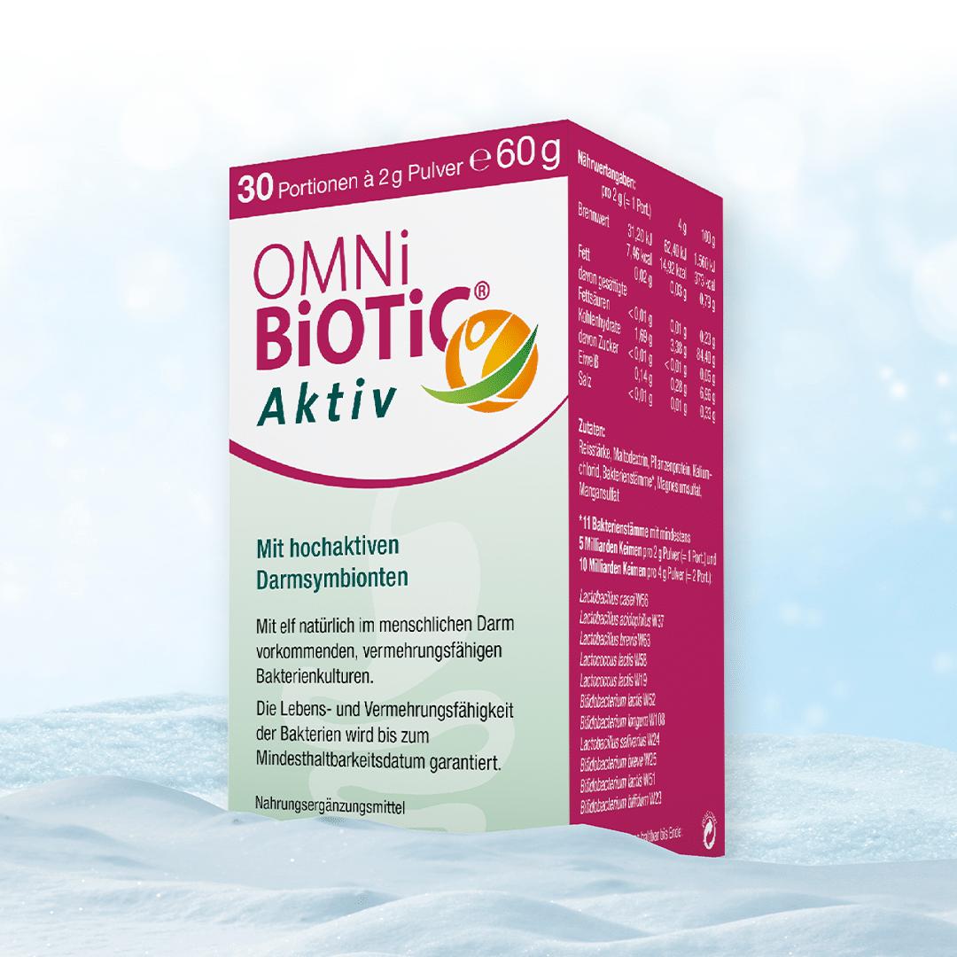OMNi-BiOTiC® Aktiv ist der bewährte Begleiter für ein aktives Leben und kombiniert 5 Milliarden Darmbakterien aus elf wertvolle Bakterienstämmen.